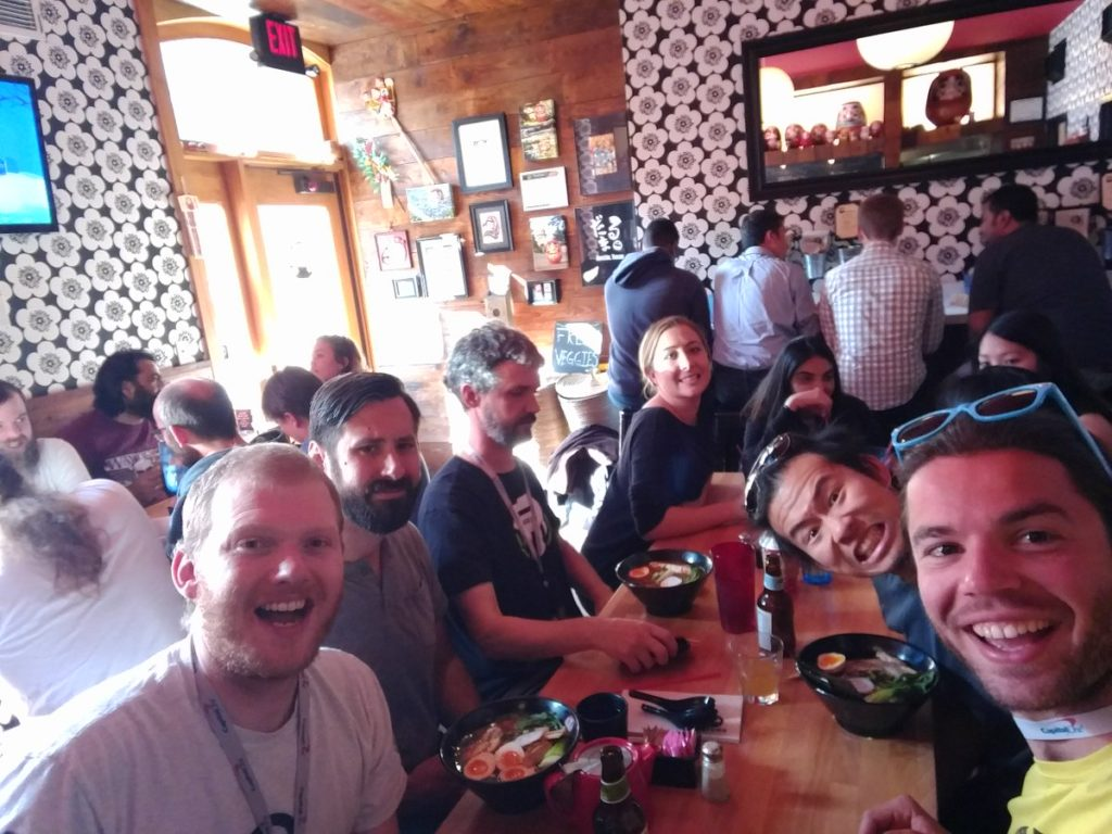 Photo provided by @ThinkTopic. Taken at Daruma Ramen in Austin at Clojure/conj 2016. From the left, we have: Eric Siefkas, Ben Kamphaus, Ben Burdette, Ken Liu, Octavian Geagla.